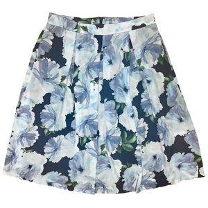 Dresses & Skirts - Blue floral pleated skirt